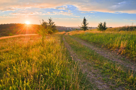 Road in meadows and beautiful sunset Stock Photo