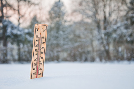 The thermometer shows frosty weather minus five degrees celsius Stock Photo