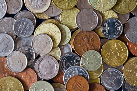 Coin background from different countries. Coin collection