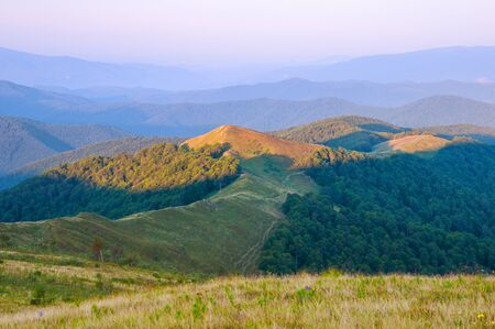 View of morning illuminated mountains. Summer mountain landscape