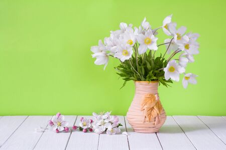Bouquet of white wildflowers in a vase on a light green background. Anemone sylvestris Stock Photo