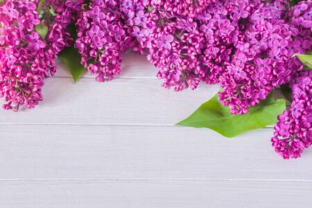 Beautiful purple lilac flowers on a white wooden table Stock Photo