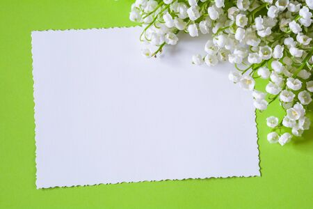 Lily of the valley flowers and greeting card on a light green background Stock Photo