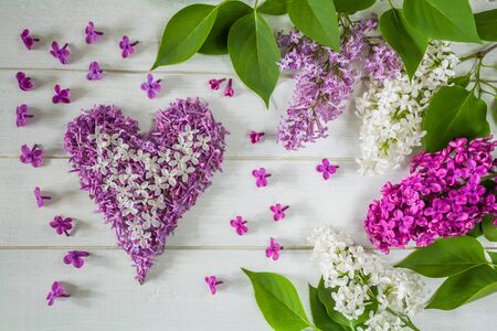 Floral arrangement of lilac flowers and heart made of lilac petals