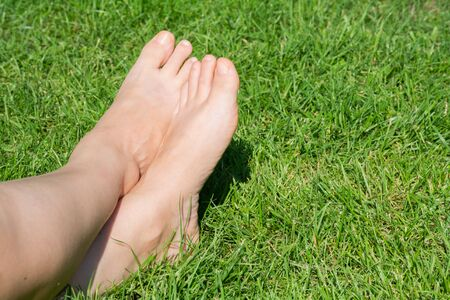 Close up of female legs lying on the grass