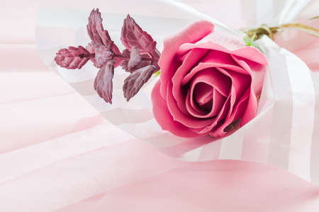Delicate bouquet of pink rose made from fragrant soap Stock Photo