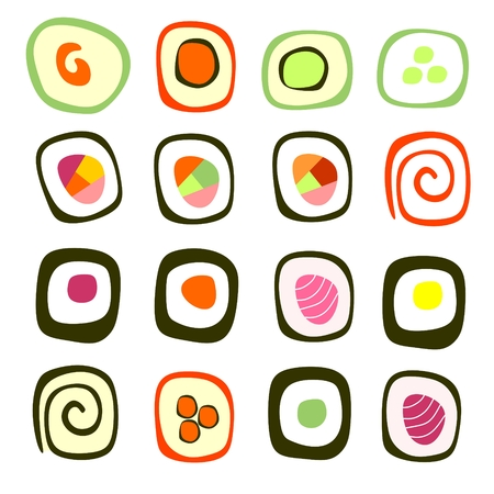 sushi roll: Set of sushi roll. Vector illustration. Vettoriali