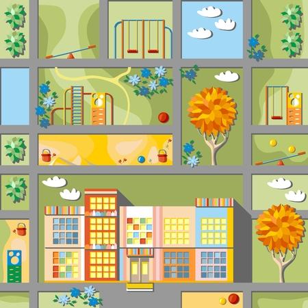 playschool: Cute cartoon map of kindergarten land. Vector illustration
