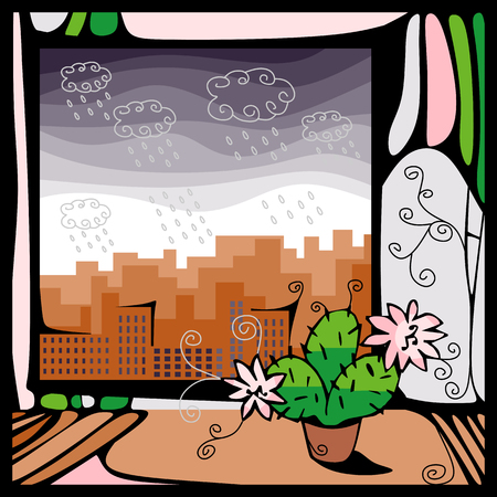 window view: View of the city, where there is a rain out the window with a blooming cactus Illustration