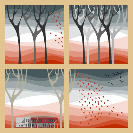 warmer: Set of four autumn illustrations - autumn trees, fall of the leaves and birds fly to warmer climes