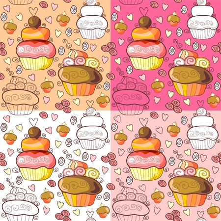 brownie: Pattern of tasty sweet cupcakes. Vector illustration Illustration