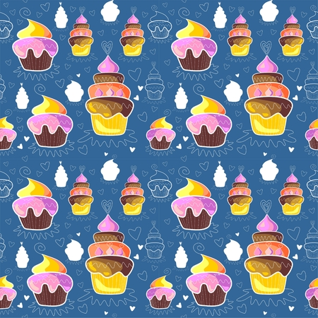 brownie: Pattern of sweet cupcakes on blue background. Vector illustration
