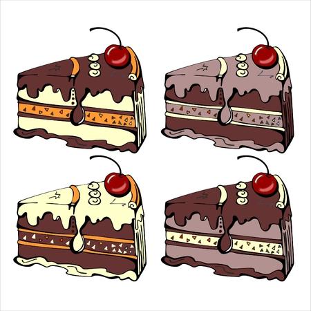 trozo de pastel: Cuatro rebanadas de pastel de chocolate sabrosa. Ilustración del vector.