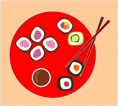 sushi  plate: Red plate with different types of sushi roll. Vector illustration. Illustration
