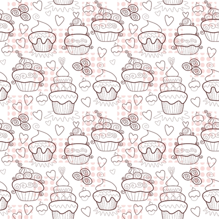 chocolate brownie: Pattern of sweet cupcakes. Vintage seamless background. Vector illustration. Illustration
