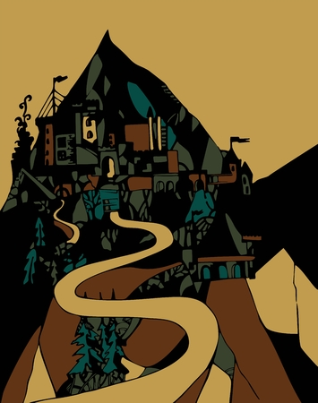 schlagbaum: Nacht Schloss in den Bergen. Vektor-Illustration. Illustration