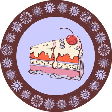 vanilla cake: Slice of tasty vanilla cake. Vector illustration. Illustration