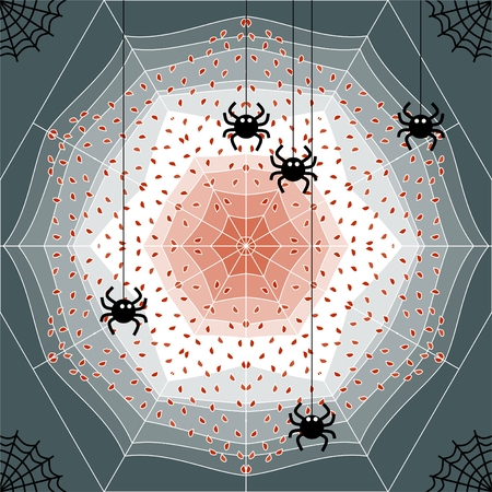 arachnid: Cobweb stuck with leaves and spiders. Vector illustration.