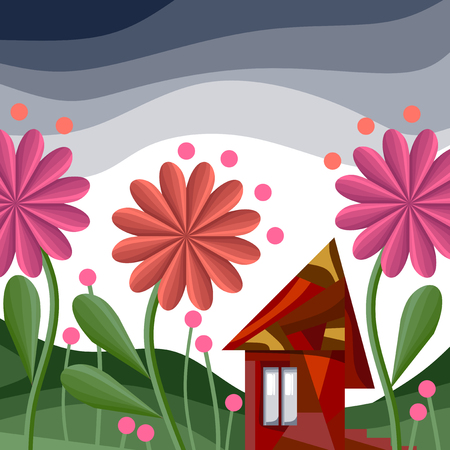 dacha: Fairy house surrounded by flowers Illustration