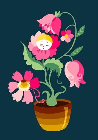 buttercup  decorative: This beautiful flower invites us into the world of fairy tales. Cute vector illustration. Illustration
