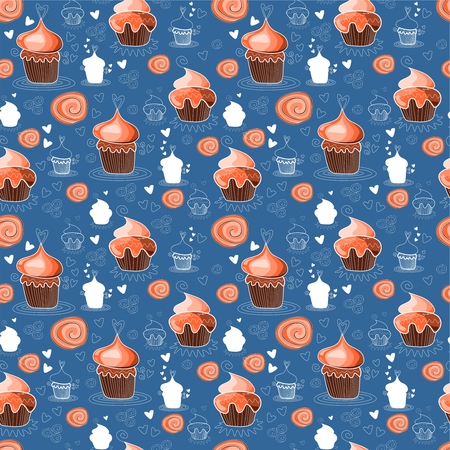 brownie: Seamless pattern with sweet cupcakes. Vector illustration. Illustration