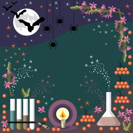 alchemy: Alchemy frame for Halloween. Vector illustration. Illustration