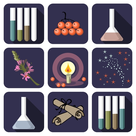 alchemical: Nine alchemical or perfume icons Illustration