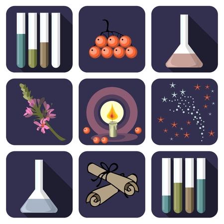 alchemist: Nine alchemical or perfume icons Illustration