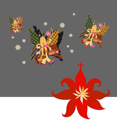 warmer: Beautiful butterfly flies to warmer climes. Creative vector illustration.