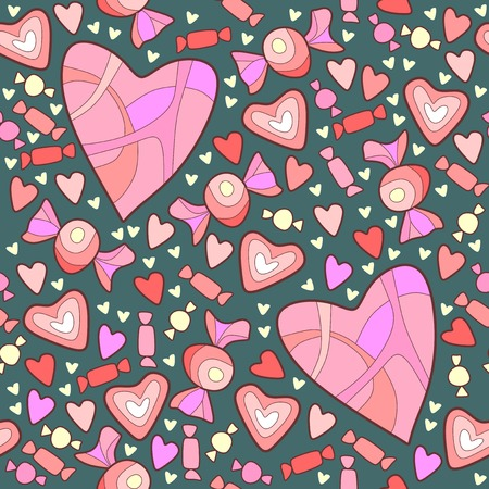 Pattern of sweet candy and hearts for Valentines Day