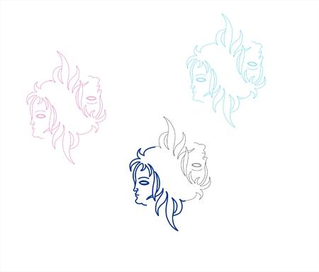 cuatro elementos: retratos bellos que ilustran los cuatro elementos. Vectores