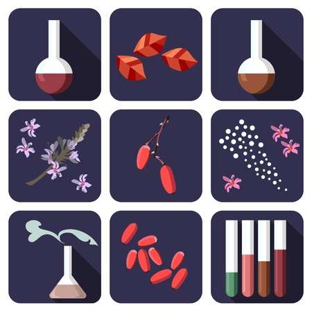 alchemical: Nine alchemical or perfume icons. Vector illustration. Illustration