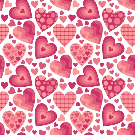 style: Seamless pattern of different pink hearts for Valentines Day
