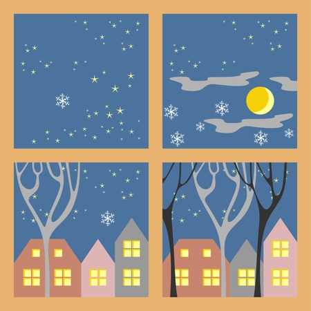 winter night: Winter night houses. Vector illustration. Perfect template for card.