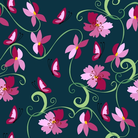 fauna: Cute seamless pattern with flowers and butterflies. Vector illustration.