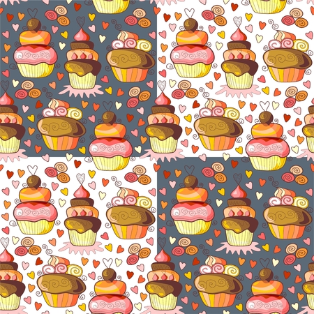 chocolate brownie: Pattern of sweet cupcakes. Seamless vector illustration.