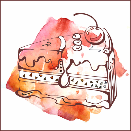 vanilla cake: Slice of vanilla cake with cherry on watercolor background