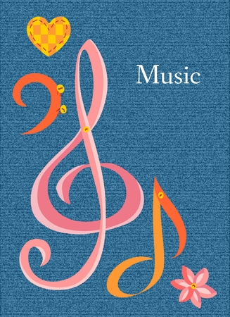 bass clef: Postcard on musical theme with place for text. Vector illustration with treble clef, bass clef, note, flower and heart. Patchwork style.