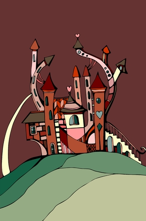 background house: Cute castle for Valentines day. Sweet house on background of chocolate sky. Fairy vector illustration. Illustration