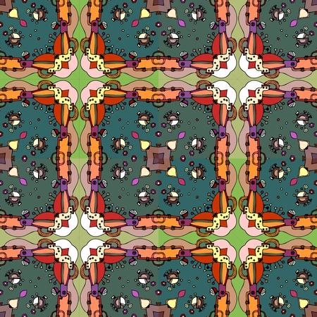 checkered pattern: Colorful seamless kaleidoscope. Ornamental checkered pattern.