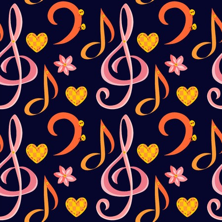 bass clef: Seamless music pattern with treble clef, bass clef, note, flower and heart.