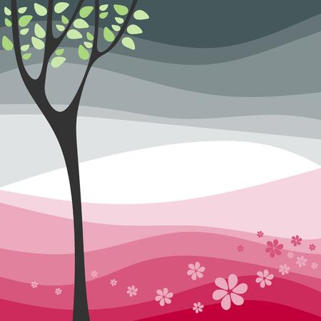 stylized tree: Stylized tree and spring flowers.