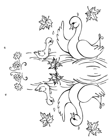 duckling: Duck and duckling are reflecting in the lake. Black and white illustration. Coloring book.