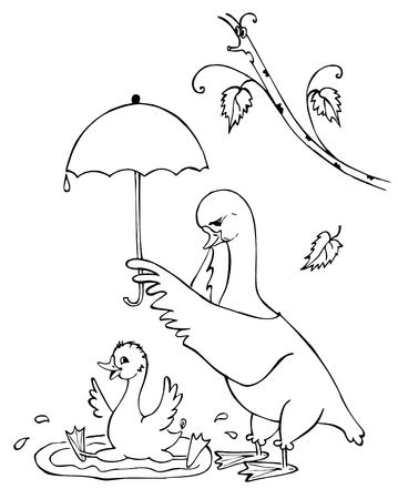 mother and baby son: Mother-goose holds an umbrella over her son who bathes. Black and white illustration. Coloring book.
