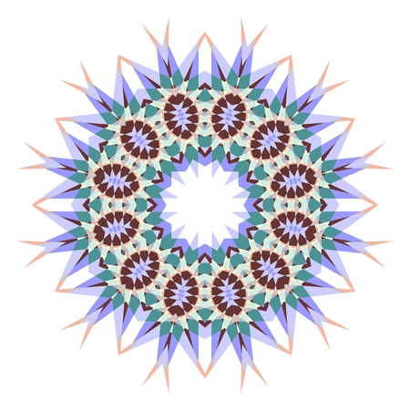 Circle geometric ornament. Card with mandala.