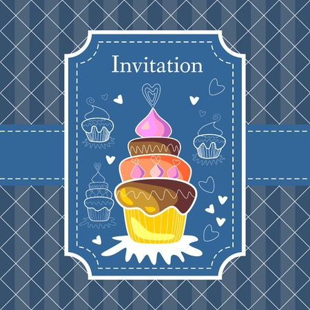 tasty: Blue invitation card with tasty cupcake. Illustration
