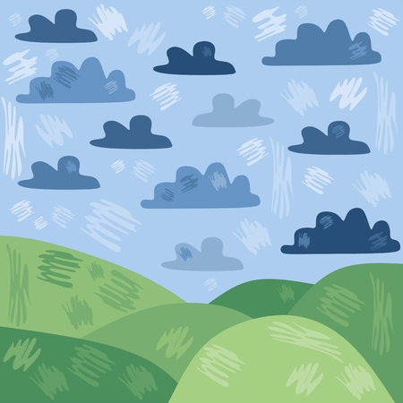 green hills: Stylized summer landscape with green hills and clouds on blue sky. Illustration