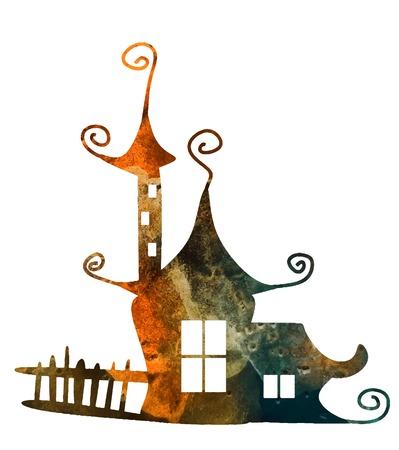 판타지 수채화 집. 귀여운 마녀 매직 건물입니다. 벡터 일러스트 레이 션.