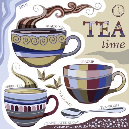 tarde de cafe: La hora del té. Ilustración del vector con las tazas de té aromático, cuchara de té, hojas de té, leche y azúcar.