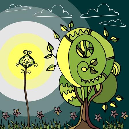 fairy tree: Illustration of the fairy tree and lantern at night.  Illustration